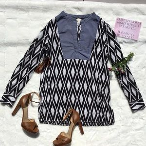 Jcrew Black & White Print Tunic Top Chambray Bib